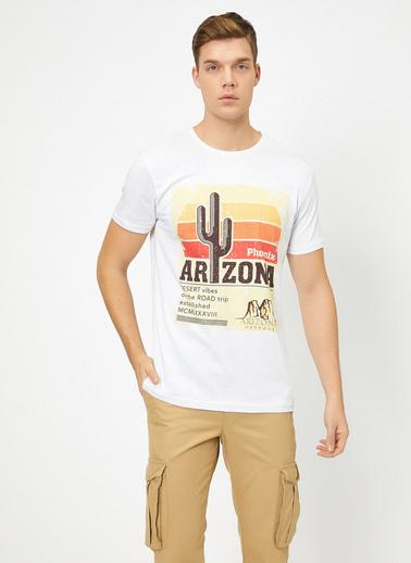 Koton Bisiklet Yaka Yazılı Baskılı Slim Fit T-Shirt Beyaz